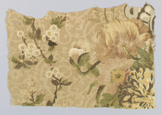 "Flowers and leaves printed in browns, yellows, green and white on ground of tan and white. Incomplete trade label on back of fabric reads "". . .UESTON & CO [P]REMIUM FURNITURE PRINTS"""
