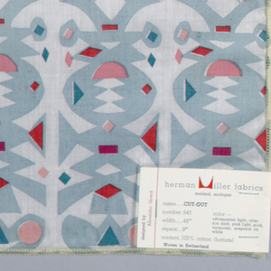 Columns of paper cutouts, printed in light blue/green, reds and pink on white cotton batiste. Serged on all 4 sides.
