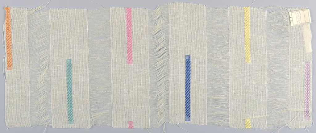 Wide vertical bands of plain weave in off-white are joined together by long off-white weft floats. Vertical bars in orange, green, pink, blue, yellow and violet are formed by discontinuous supplementary weft patterning. Number 409.
