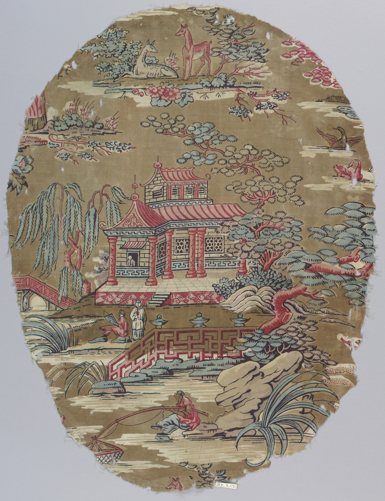 Chinoiserie design in red, blue, tan and yellow showing a house, men fishing, birds and animals in a landscape.