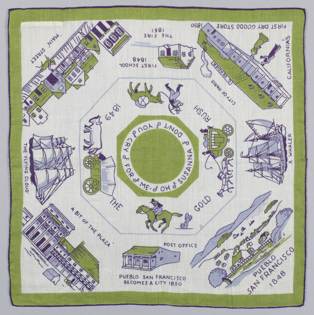 Commemorative white handkerchief printed in blue and green showing scenes of San Francisco in 1848 including: a whaler, the first dry goods store, Main Street, the Flying Cloud and other sites. Souvenir of the Golden Gate International World's Fair, 1939.