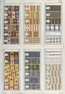 Sheet of heavy paper folded into six panels, each containing six swatches of printed fabric. Pattern numbers on white oval stickers adhered to each sample. Titles and comments in French on each panel.
