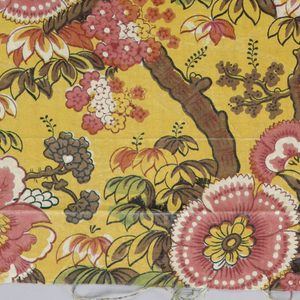 Exotic pink flowers on thick tree-like branches on a yellow background.
