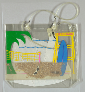 "Real sand and loose trinkets between bag's inner paper wall and outer clear plastic sheet.  Sunglasses, coke bottle, drawing of volleyball, life guard stand, etc. Attached tag: ""Flashbags - designed by Two's Company, Inc."""