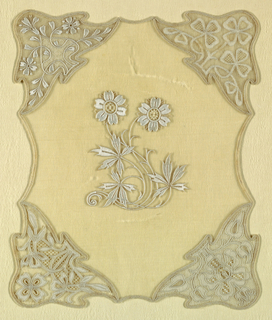 White work stitches with four different corner patterns.