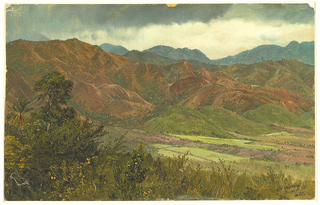 Oil sketch of green, cultivated valley and mountain range, with storm clouds overhead.
