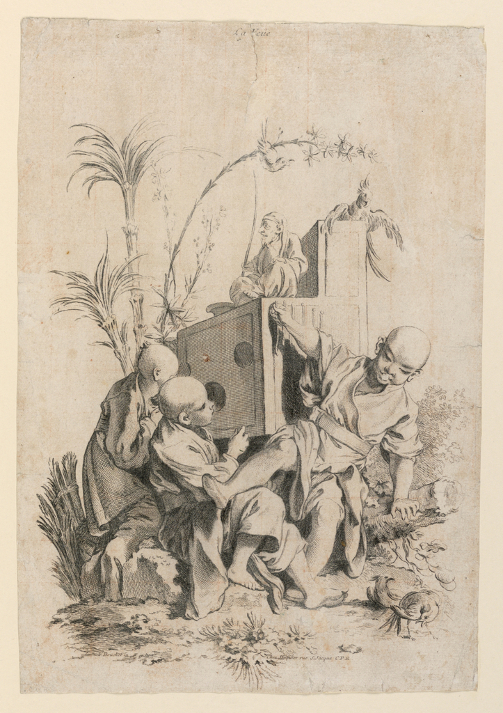 Allegorical scene depicting the sense of sight. Four figures surround a structure with portholes in one side. Two figures peer into the holes. One teeters in the foreground, and an elderly figure is seated atop the structure. Landscape elements and birds surround.