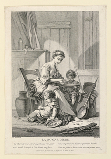 A young barefooted girl is seated in a simple domestic interior, in the act of feeding a child seated on a low box besides her. Another child plays with an apple on the floor.