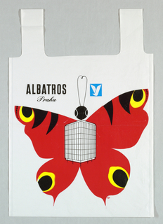 "Recto: ""Albratos/praha"" (Prague);  moth with wings extended. Red, black, yellow and blue on white."