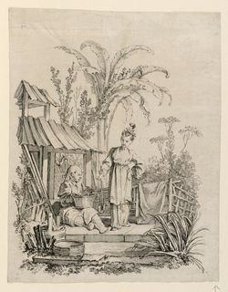 In an outdoor scene, a man sits on the ground with a basket on his lap, next to a standing woman. She holds a fish on a string in one hand, extended out toward the seated man. At left, a pagoda-like structure, and surrounding, various trees and foliage gives texture to the landscape.