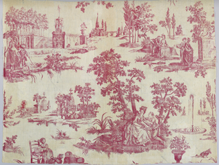 Textile fragment printed in red on white showing design of lovers and children in a garden with fountains. Incomplete repeat.