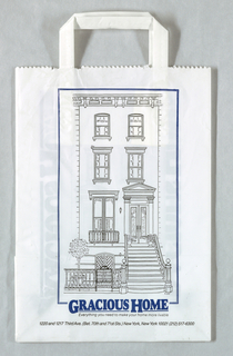 "White with image of home front in line drawing.  ""Gracious Home"" in blue with adress and phone number at bottom center."