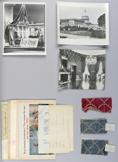 File folder containing clippings and information about White House re-decoration and other Schumacher projects.
