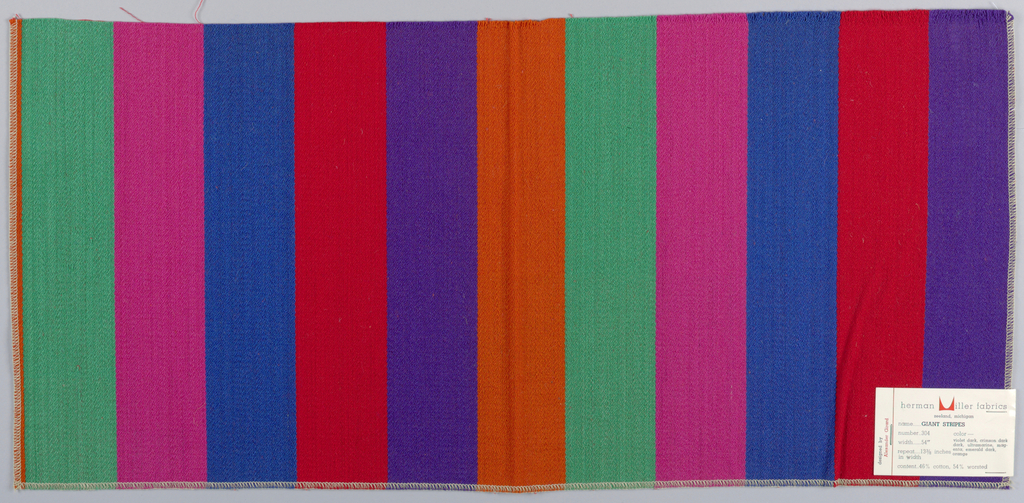 Warp-faced twill in wide even vertical stripes of violet, red, blue, pink, green and orange. Number 304.