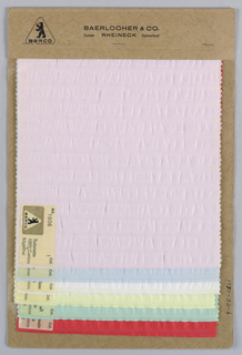 Six samples of solid seersucker striped fabric called Tutorette. Bound in paper with acetate cover.