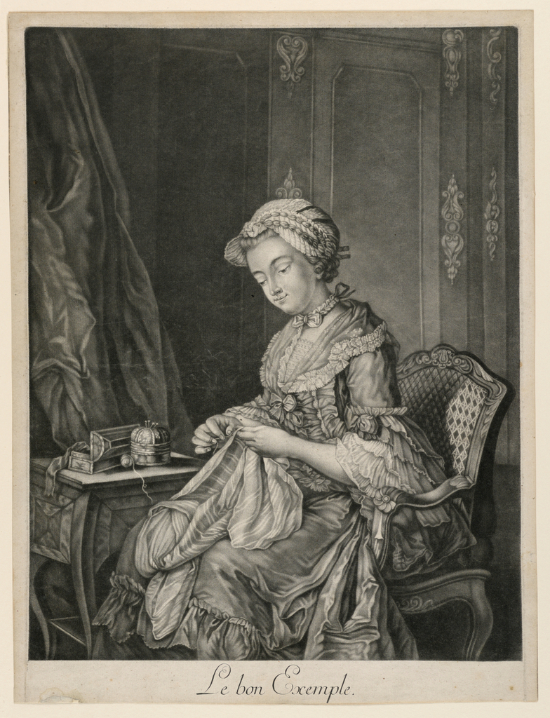 After a painting. Three quarter length portrait of a seated girl in three-quarter profile facing left. The girl is sewing on a piece of material. At left a small table; drapery behind it. Room-panelling seen in background.