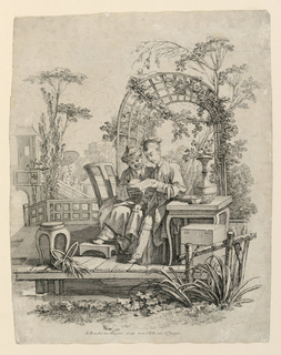 A man and a woman sit on a platform next to a table, both consulting a folded packet of paper which the woman holds. Behing them is an arched trellis and various plants to indicate a landscape.
