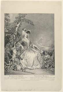 A lady seated in hunting costume and tricorne hat pats a dog with her left hand and fingers dead game with her right.