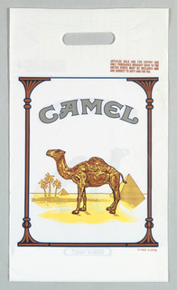 Image of pack of Camel cigarettes. Text: From duty-free shop; copyright 1982 RJRTC [RJReynolds Tobacco Co.]; list of articles sold in shop.