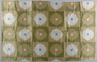 Columns and rows of stylized flowers with square center.  Printed in tan, green and blue on white.