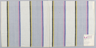 Plain in wide vertical stripes of gray and white with pairs of narrow stripes in blue and pink and yellow and black.