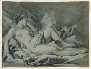 Nude woman lying from left to right. The body is slightly turned to the left and the head bent to the right leaning on her left hand. Drapery curls diagonally around the left hip to rest on the right inner thigh.