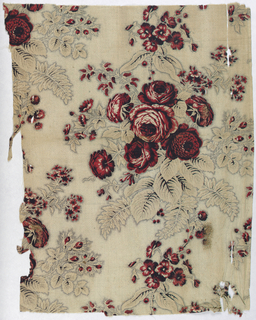 Bunches of roses and other flowers in red, tan, and black on light background with stippling. Color in leaves has faded out. Probably had glaze but it is now worn off.