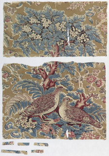 Fragment showing quail and flowering branches in shades of brown, dark blue and dark red.