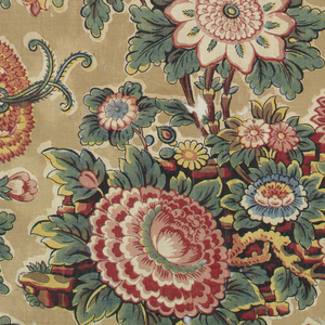 Flowers and leaves on undulating stems in multicolor on a tan background. Original glaze nearly worn off.