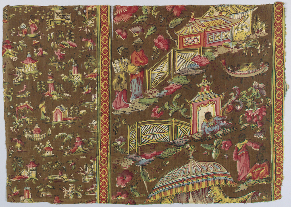 Fragment of printed cotton; border design in chinoiserie showing incomplete temples and buildings.  An even smaller design of pavilions, bridges, and ships encloses the center on right side.  On either side, two small bands, vertical and geometric, help to overcome the difference in scale.  The design is carried out on a brown ground in shades of red, blue, green, yellow and white.