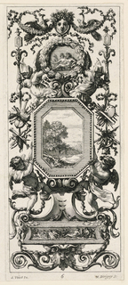 Consists of two images on one sheet: a grotesque panel with a medallion as centerpiece, carried by two figures, surmounted by female mask; the grotesque design composed predominantly of wreath and floral scroll motifs.