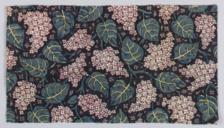Fragment of printed cotton with an allover pattern of lilacs and large, heavily veined leaves on a black background.