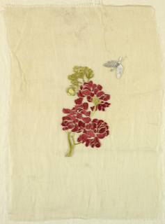 Pattern of red geranium with green leaves and butterfly or moth in upper corner.