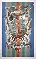 """Glass and cast iron building (The New York Crystal Palace) within large circular frame. Clusters of people on Palace grounds. Atop this is a spread eagle perched on shield of stars and stripes. Flanking eagle are unfurled flags of U.S. and other nations. At bottom center is globe on banner reading """"New York Crystal Palace 1853,"""" below which are a spray of flowers and a palm frond. Six fleurs-de-lys edge bottom of frame. Printed in grey, coral and green """"rainbow"""" stripes, white and brown on a blue ground which has been applied to both sides of paper."""