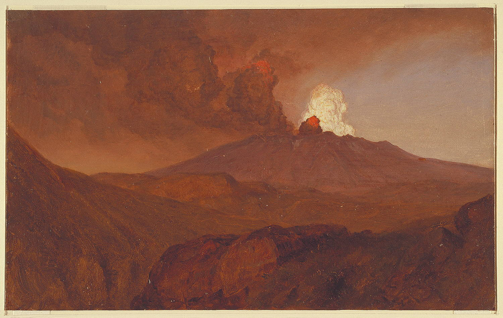 Oil sketch of erupting volcano (view in South America).
