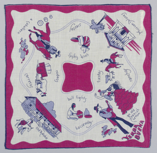 Commemorative white handkerchief showing scenes in Yerba Buena, California; an old adobe home in Mission Dolores and depictions of ranch life. Souvenir of the Golden Gate International World's Fair, 1939.