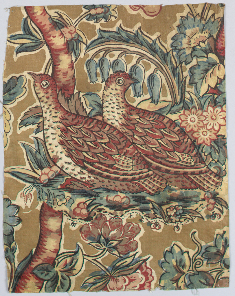 Fragment showing two birds amidst flowers, leaves and tree branches. Colors are brown, pink and black with blue and yellow making green.