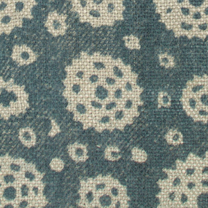 Small fragment of heavy hand-woven natural color linen block printed in blue-green. Design of simple flower heads and smaller dots reserved in natural linen color, details in blue-green.