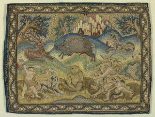 Small embroidered panel with two scenes from the Labors of Hercules: in the lower left corner, Hercules with the three-headed dog, and in the lower right corner, Hercules wrestling with a lion.  A monkey sits between these two scenes, while a deer, a warthog, and a dog fill the background.  Framed by a curving border of berries. Embroidered in gold metallic threads and polychrome silks on an ivory silk foundation.
