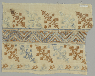 Fragment of a cover with a geometric and floral border in dark orange and light blue.