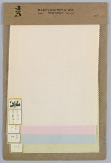 Four samples of sheer wool ground fabrics in solid colors: beige, pink, blue, and yellow. Bound in paper with acetate cover.