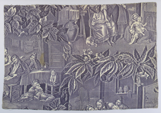 Fragment of a pattern less than full repeat which would have filled the full width of the fabric: offset scenes of family life enclosed in a frame of leaves.