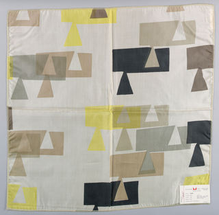Sheer white plain weave printed with a geometric design in black, grey, dark brown, light brown and yellow.
