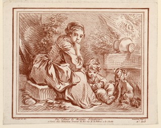 A girl, a boy, and a dog seated among ruins. After a drawing.