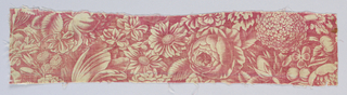 Fragment shows a medallion surrounded by flowers. In medallion is a farm scene with a woman, two children, a cow, cat and dog.