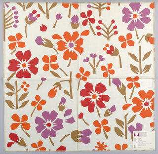 White plain weave printed with an abstract flower pattern in orange, red, violet and brown. Number 794.