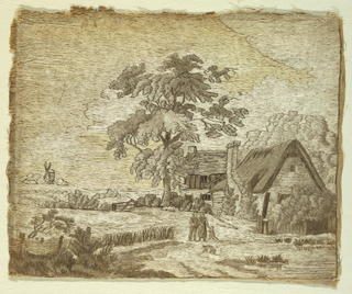 Rural scene of a cottage in a landscape, with figures of two adults and one child. The embroidery completely covers the foundation fabric. In shades of cream and brown.