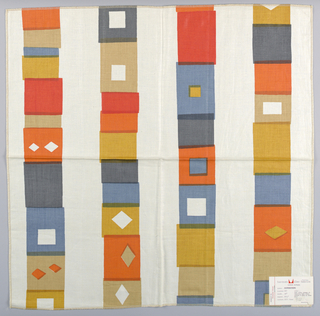 White plain weave printed with a pattern of overlapping squares with diamond shapes in orange, blue, gold, light brown and dark blue. Square pattern forms vertical bands. Number 667.