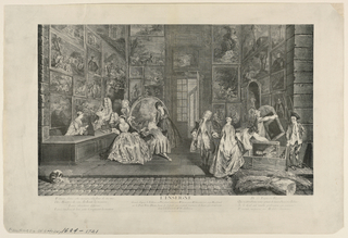 After the painting by Watteau for the dealer, Gersaint. Shop scene of a picture dealer, with figures examining and crafting pictures.
