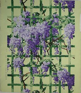 Large, suspended purple flowers on green trellis, printed on light yellow ground.